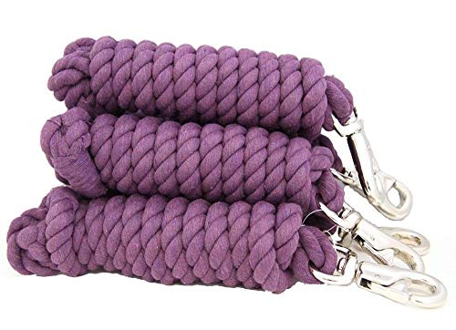 "AJ Tack Wholesale Lot of Five 8.5' x 3/4"" Cotton Horse Lead Ropes Heavy Duty Bull Snap Purple from AJ Tack Wholesale"