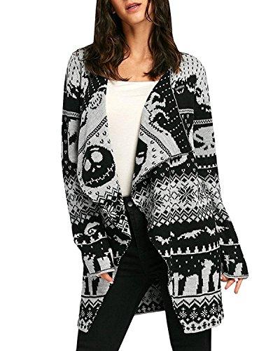 Farktop Women's Halloween Skull Print Oversized Opened Front Cardigan Knit Sweaters