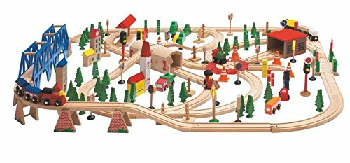 Woodyland Railway Set in a Wooden Box (170-Piece)