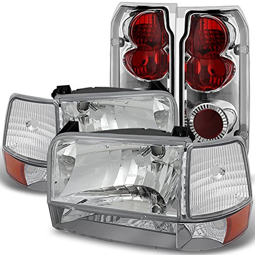 For 1992-1996 Ford F150 F250 F350 Chrome Clear Headlights + Corner + Bumper Lamps + Tail Brake Lights ()