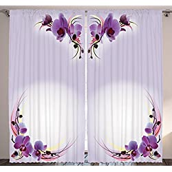 Ambesonne Nature Home Decor Floral Curtains, Orchid Flowers Theme Creative Design Modern Artprint, Window Drapes 2 Panels Set for Bedroom Living Room, 108 X 90 inches, Lilac Purple White and Yellow