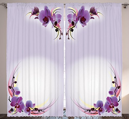 "Ambesonne Floral Curtains, Orchid Flower Blooms Spring Nature Theme Design Print, Living Room Bedroom Window Drapes 2 Panel Set, 108"" X 84"", Lilac Purple"