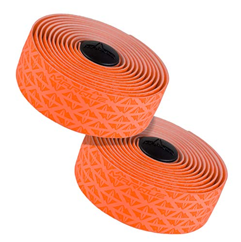 MARQUE Peak Pattern Bar Tape - Road Bike Handlebar Wrap with Tacky Non-Slip Grip and Padded Vex Gel Silicone Backing - 2PCS per Set (Peak Orange)