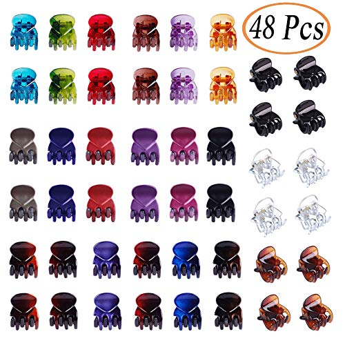 48 Pcs ONCIDIUM Mini Hair Clips Claws Clips Colorful Plastic Hair Clamps for Girls and Women (Bright and Pearl ()