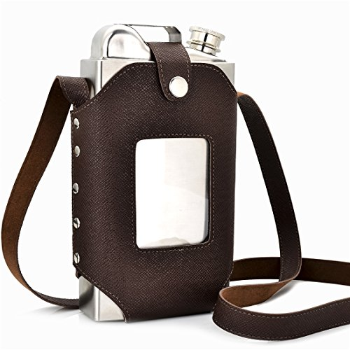 GENNISSY Leather Sheath Large Capacity Stainless Steel Hip Flask 35OZ