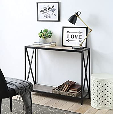 Magnificent Weathered Grey Oak Metal Frame 2 Tier Console Sofa Table With X Design By Ehomeproducts Pabps2019 Chair Design Images Pabps2019Com