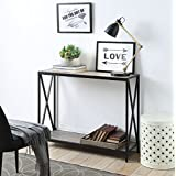 Weathered Grey Oak Metal frame 2-tier Console Sofa Table with X-Design by eHomeProducts