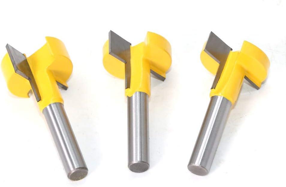 WSOOX Juego de 3 brocas para fresado de ranura en T herramienta de carpinter/ía 8 mm carburo de v/ástago en T