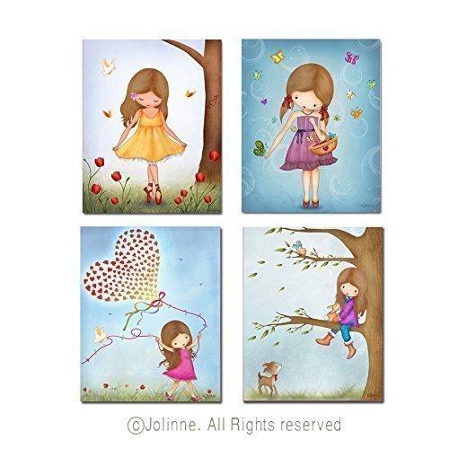 Amazon.com: Set of 4 Art Prints for Girls Room Children\'s Bedroom ...