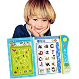 Wuao ABC Sound Books for Children, Touch and Teach Lettets and Words Learning Book, Fun Educational Toy Learning Activities for English Alphabet, Words, Numbers, Animals, Fruit, Vehicle for Toddlers,