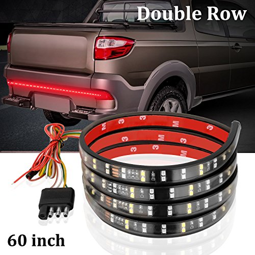 Clautop 60 ǥ Led Tailgate Light Bar Strip 2 Row 180leds Truck Tailgate Led Lights Tail Lighting Red White Waterproof Running Reverse Braking Turn Signal For Jeep Suv Rv Trailer Dodge Ram Toyota Chevy