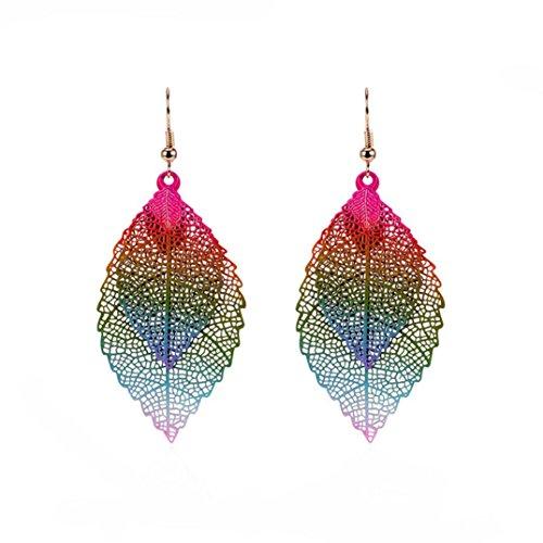 (Longay Women's Leaves Tassel Ornaments Pendant Earrings Ear Studs Drop Long Dangle (Multicolor))