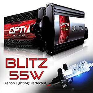 OPT7 Blitz 55w 9004 Hi-Lo HID Kit 5x Brighter - 4x Longer Life - All Bulb Colors and Sizes - 2 Yr Warranty [6000K Lightning Blue Xenon Light]