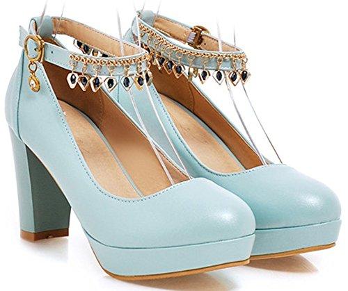 Idifu Womens Pendentif Habillé Haute Chunky Talons Cheville Sangle Boucle Plate-forme Pompes Chaussures Bleu