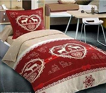 Housse de Couette 220x240 Chalet Winter Rouge