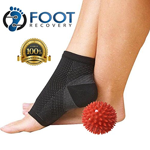2 Pairs of FOOT RECOVERY Plantar Fasciitis Compression Socks With Heel Support. Breathable Fabric Keeps Feet Dry. - Plus Deep Tissue 3 Massage Ball.