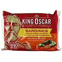 King Oscar Sardines in Extra Virgin Olive Oil with Jalapeno Peppers (Pack of 4) 3.75 oz Cans