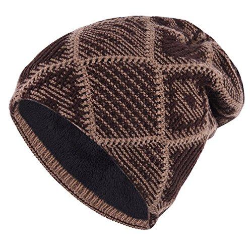 con de de gorros punto de invierno forro Kfnire polar cálido los hombres café 46OzRqWw