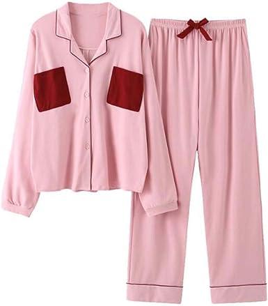 Pijamas japonesas Ropa de hogar de algodón de Manga Larga para Mujeres, Tops + Pantalones, 03: Amazon.es: Ropa y accesorios