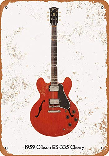 DYTrade Vintage Look Metal Sign Wall Décor - 1959 Gibson ES-335 Cherry
