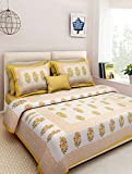 Jaipuri Designer Printed 210 TC Cotton Double Bedsheet with 2 Pillow Covers - Modern, Yellow
