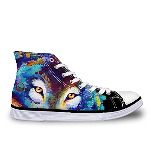 for Canvas Sneakers Horse Top Unisex U and Lace up Wolf DESIGNS Animal High Shoes Women Men Fashion FOR Casual Wolf Print Owl qBTnA