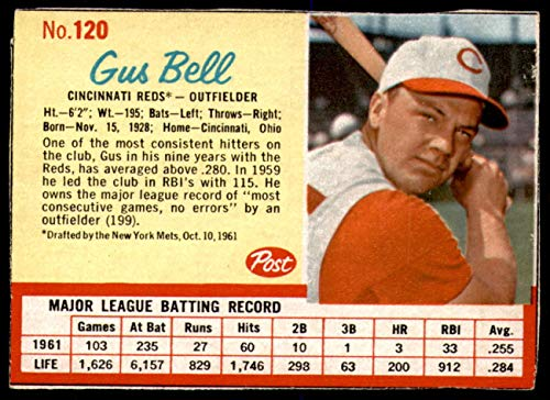 1962 Post Cereal #120 Gus Bell Very Good Reds ()