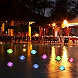 Floating Pool Lights,LED Pool Lights,Color-Changing Flower Lotus Night Lights for Centerpieces, Pool Decoration 6 Pcs