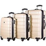 Merax Travelhouse Luggage 3 Piece Expandable Spinner Set (Gold)