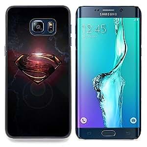 - Superhero Sign S Gold Grey Metal Brushed/ Duro Snap en el tel????fono celular de la cubierta - Cao - For Samsung Galaxy S6 Edge Plus