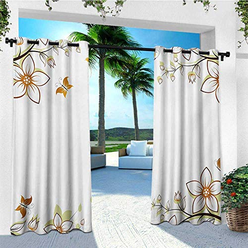 leinuoyi Floral, Outdoor Curtain Wall, Flowers Leaves Branches Buds Butterflies Frame Like Image Print, Outdoor Curtain Panels for Patio Waterproof W84 x L96 Inch Pale Brown Pale Green White