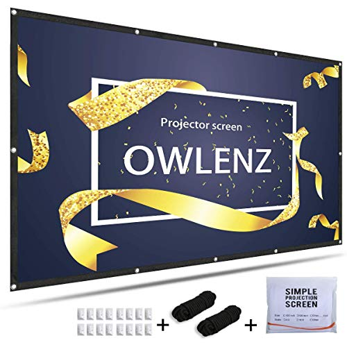 OWLENZ 4K HD 120Inch 16:9 Portable Projector Screen Multi-Function Foldable Anti-Crease for Home Theater, Outdoor,Multi-Media Classroom, Office, Indoor, Support Front and Rear Projection