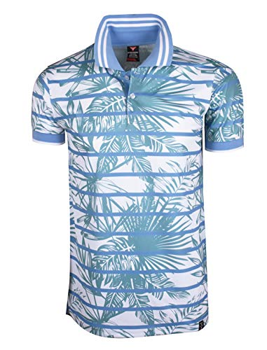 (SCREENSHOTBRAND-S11933 Luxury Hip-Hop Premium Tees - Stylish High Density Monocolor Print Tropical Hawaiian Striped Polo -P.Blue-Large)