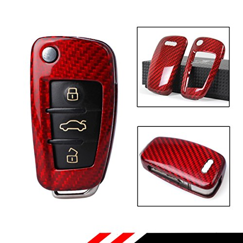 LUXURY RED CARBON FIBER CASE FOR AUDI A3 A4 A5 A6 A6 RETRACTABLE KEY FOB (Audi A5 Tuning)