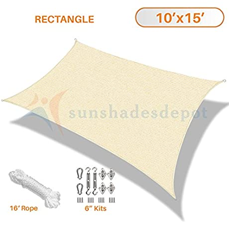 Sunshades Depot 10 X 15 Beige Sun Shade Sail With 6 Inch Hardware Kit Rectangle UV Block Durable Fabric Outdoor Canopy Custom Size Available
