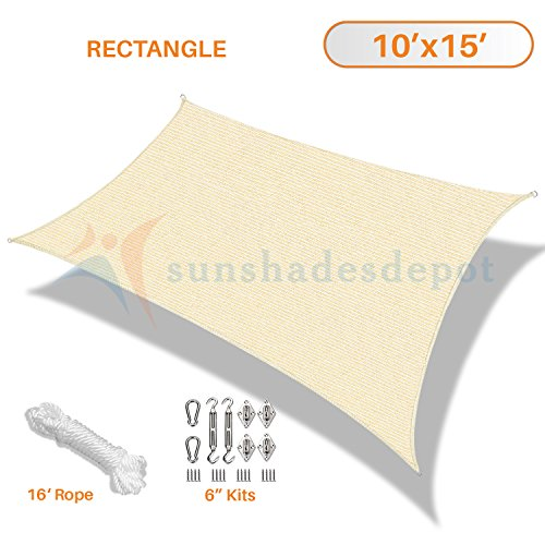 Sunshades Depot 10' x 15' Beige Sun Shade Sail 180 GSM with 6 Inch Hardware Kit - Rectangle UV Block Durable Fabric Outdoor Canopy - Custom Size Available