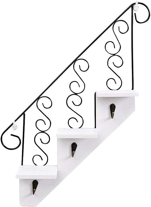 ozzptuu creativas escalera de madera montado en la pared para colgar estantes de almacenamiento estante con 3 ganchos para hogar oficina decoración: Amazon.es: Hogar