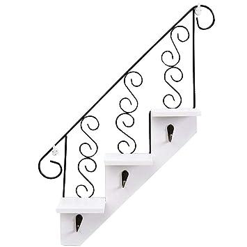 ozzptuu creativas escalera de madera montado en la pared para colgar estantes de almacenamiento estante con 3 ganchos para hogar oficina decoración: ...