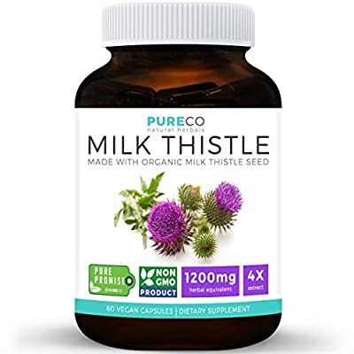Organic Milk Thistle Extract (Vegan) - Super-Concentrated 4:1 Extract for 1,200mg of Milk Thistle Herb Power - Silymarin Marianum - Supports Liver Health, Cleanse & Detox - 60 Capsules (No Pills)