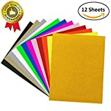 12 PACK Heat Transfer Vinyl, UNODE 12 X 10 Inches 12 Assorted Colors Heat Transfer Bundle Iron HTV DIY T-Shirt/Hat for Silhouette Cameo/Cricut/Heat Machine Tool/Other Craft Cutters