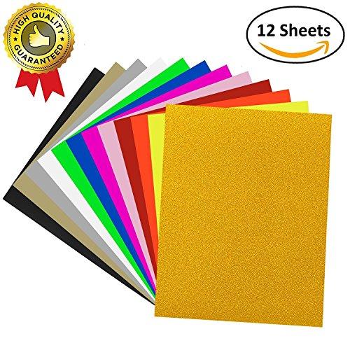 12 PACK Heat Transfer Vinyl, UNODE 12 X 10 Inches 12 Assorted Colors Heat Transfer Bundle Iron HTV DIY T-Shirt/Hat for Silhouette Cameo/Cricut/Heat Machine Tool/Other Craft Cutters by UNODE