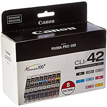 Black, Cyan, Magenta, Yellow, Photo Cyan, Photo Magenta, Gray, Light Gray 8 Pack Smart Print Supplies Compatible CLI-42 CLI42 Ink Cartridge Replacement for Canon Pixma PRO-100 Printers