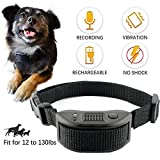 Best Buds Dog Bark Collar No Shock Collar for Small Medium Large Dogs Humane Rechargeable with Training Commands Recording Vibration Beep Sound Automatic Adjustable Electric Training Collar[Black]