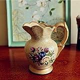GSCH Vintage Porcelain Vase 6.5 Inch Hand Painted Peony Pottery Vase (Khaki)