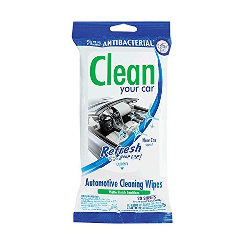Refresh Your Car! 65052T Automotive Antibacterial New Car Scent Cleaner Wipes Pouch, 20 Count by Refresh Your Car (Image #1)
