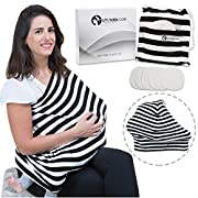 Nursing Cover Scarf for Breastfeeding, Inc. 6 Nursing Pads. Stretchy Baby Car Seat Canopy for Boys and Girls. Multi Use Stroller, Carseat and Shopping Cart Cover. Soft Infinity Shawl. Baby Shower Gift