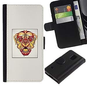 KLONGSHOP // Tirón de la caja Cartera de cuero con ranuras para tarjetas - Perro psicodélico - Samsung Galaxy S5 V SM-G900 //