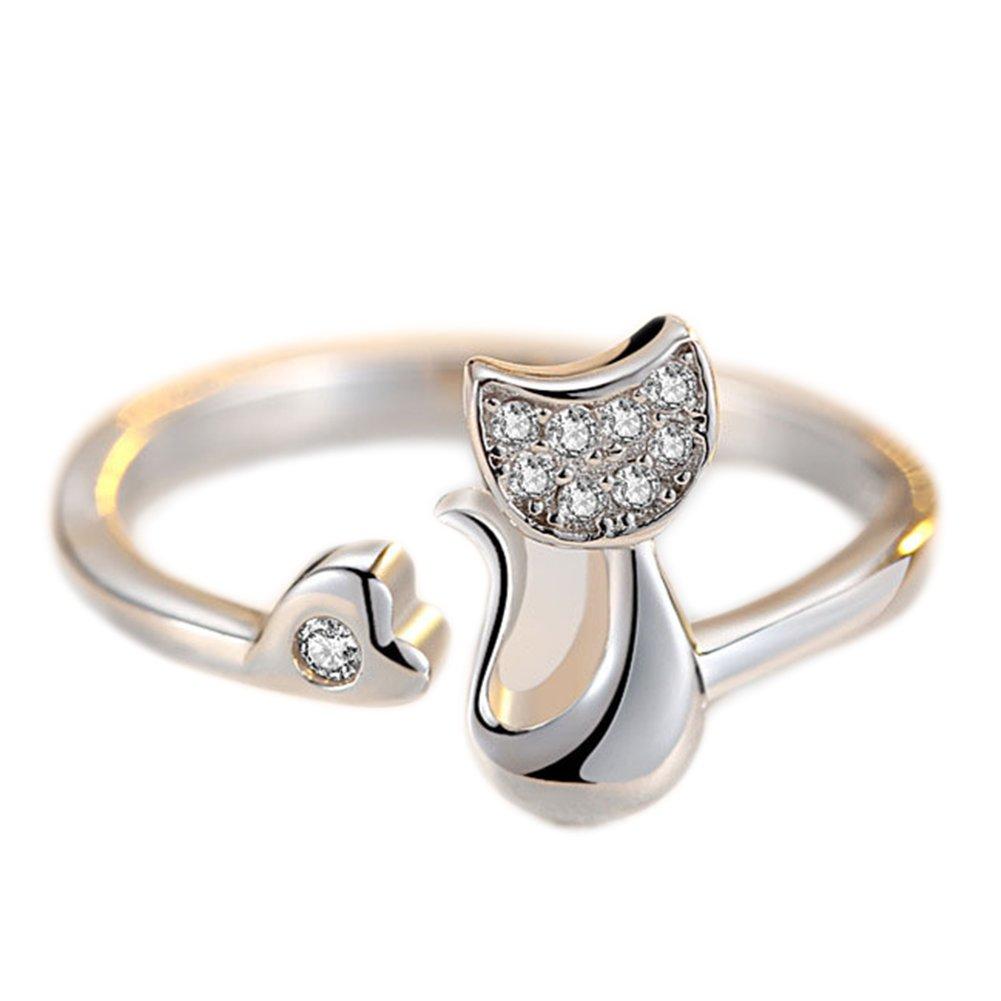 Bigboba elegante donne anello creativo personalizzata diamante gatti apertura regolabile anello di cristallo nozze gioielli accessori, metallo, Silver, medium