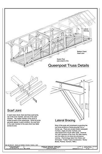 Historic Pictoric Blueprint Diagram Queenpost Truss Details - Morgan Bridge, Spanning North Branch Lamoille River on Morgan Bridge Road, Belvidere Junction, Lamoille County, VT 30in x -