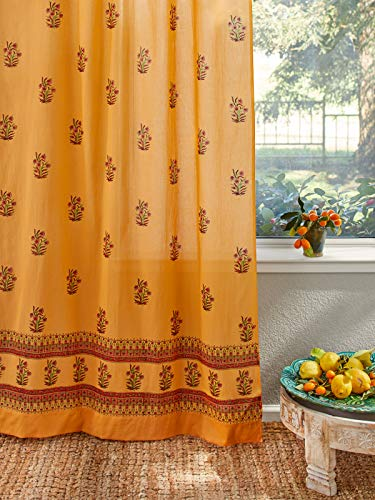 Saffron Marigold Indian Summer Curtain Panel | Tab Top or Rod Pocket | Orange, Yellow, Paisley Vintage Sheer Cotton Voile Window Treatment Curtains 46 x 84